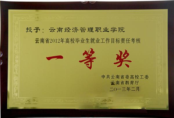 云南省2012年高校毕业生就业工作目标责任考核一等奖