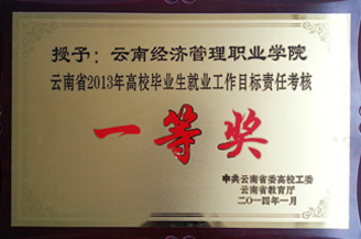 学院荣获2013年高校毕业生就业工作目标责任考核一等奖