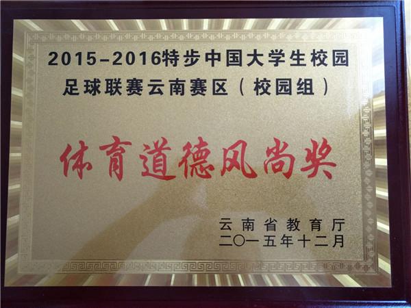 特步中国大学生校园足球联赛云南赛区(校园组)体育道德风尚奖